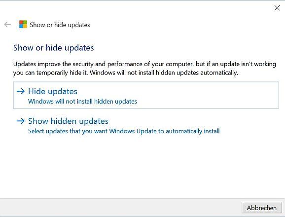 Win 10 Updates verstecken (Screenshot: ZDNet.de)