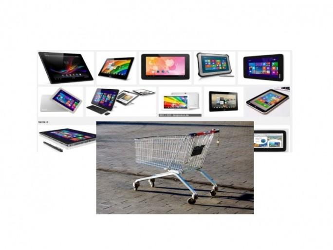 Tablet-Shopping (Bild Tablets NetrmediaEirope, Einkaufswagen Shutterstock)