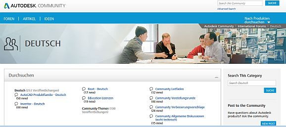 Autodesk Community Deeutschland (Screenshot: Channelbiz.de)