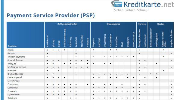 Zahlungsdienstleisterübersicht, Auszug (Screenshot:Channelbiz.de)