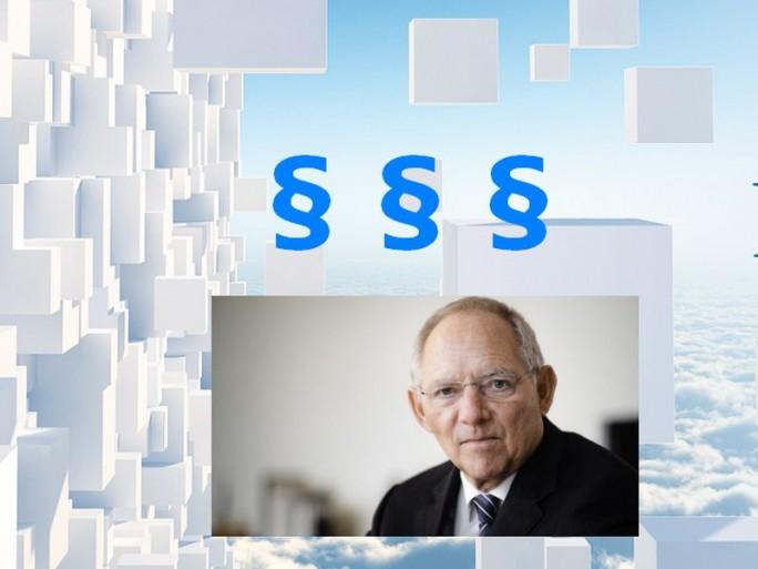 Schäuble Paragraphen-Bigdata-Nextevolution (Bildzusammenstellung: Channelbiz.de. Schäuble: Finanzministerium. Hintergrund: Nextevolution)