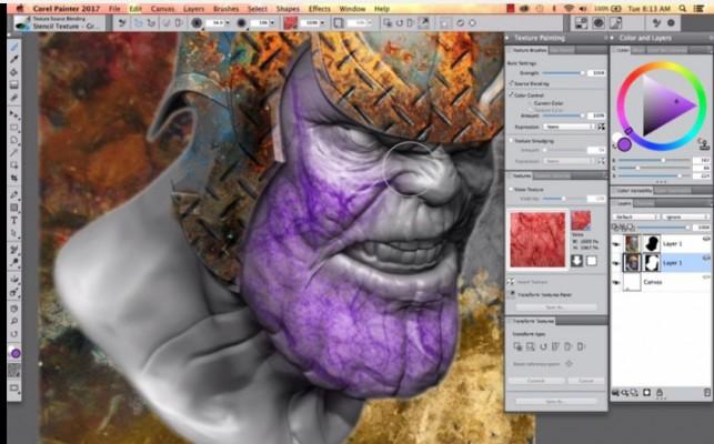 Malen auf dem-abgeflachten 3D-Bild (Bild: Corel)