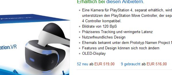 Amazon-Preise PS4 VR am 16.10.2016 (Screenshot: Channelbiz.de)