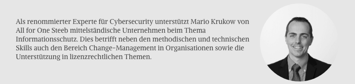 Mario Krukow, Senior Cybersecurity Architect bei All for One Steeb